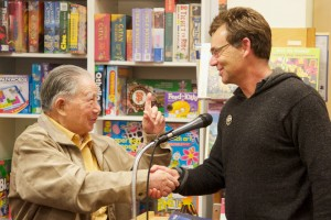 Shaking Moon Chin's hand at Bookshop West Portal