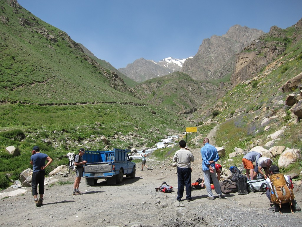 Americans and Iranians getting organized at the Alam Kuh trailhead